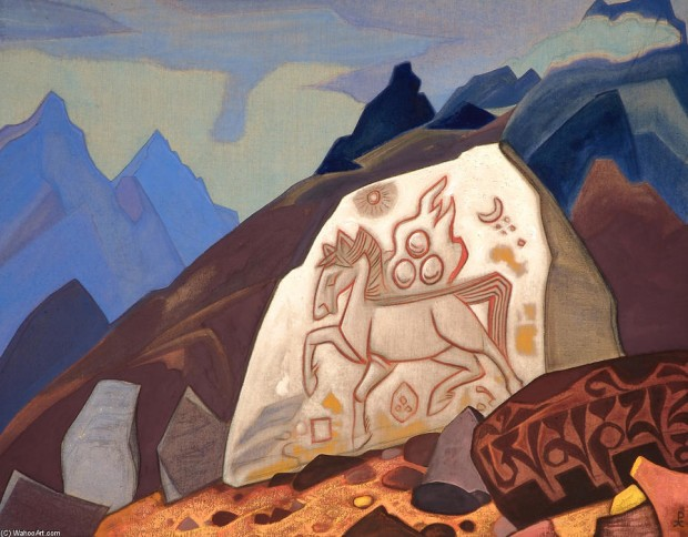 Nicholas-Roerich-White-Stone-Sign-of-Cintamani-or-Horse-of-happiness-